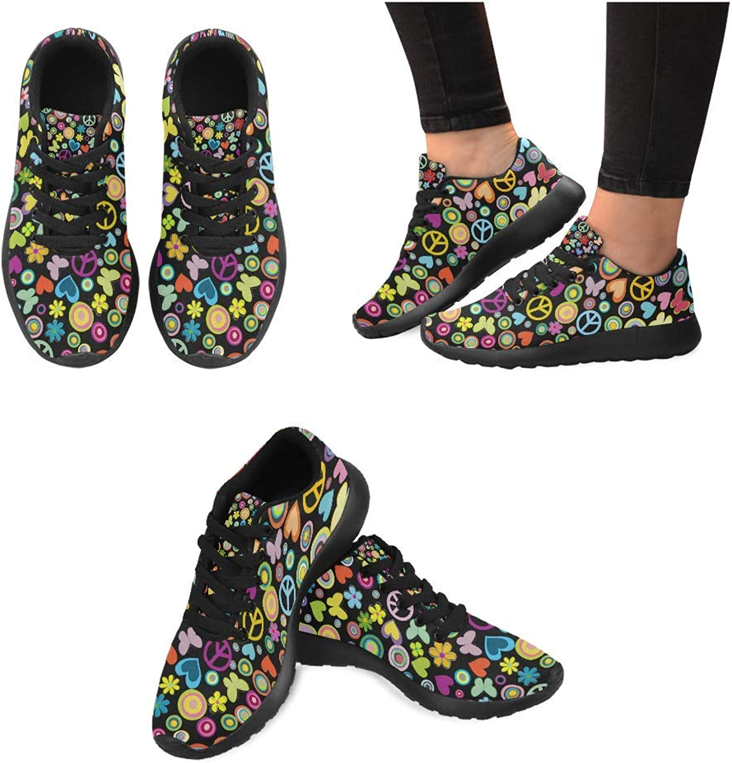 Women Lightweight Casual Sneaker Running shoes Peace Signs Prints