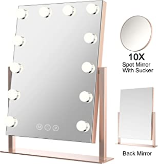 ElectriBrite Lighted Makeup Mirror - Hollywood Double Side Makeup Tabletops Cosmetic Mirror with Lights, 12 x 3W Dimmable Vanity Mirror Touch Control - Rose Gold