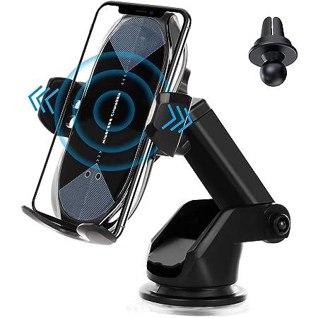 車載Qi ワイヤレス充電車載ホルダー 10W/7.5W 急速ワイヤレス充電器 車ホルダー自動開閉 360度回転 吸盤式&吹き出し口2種類取り付 iPhone 12/pro/mini/ iPhone 11/pro/pro max/X/XR/XS/XSMAX/8/8 Plus/Galaxy S9/S8/S8 Plus/S7/S7 Edgete 8/Nexus 5/6等に適用ワイヤレス充電機種に対応できます。