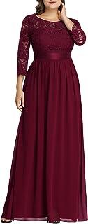 Women's Plus Size A-Line 3/4 Lace Sleeves Chiffon Long...