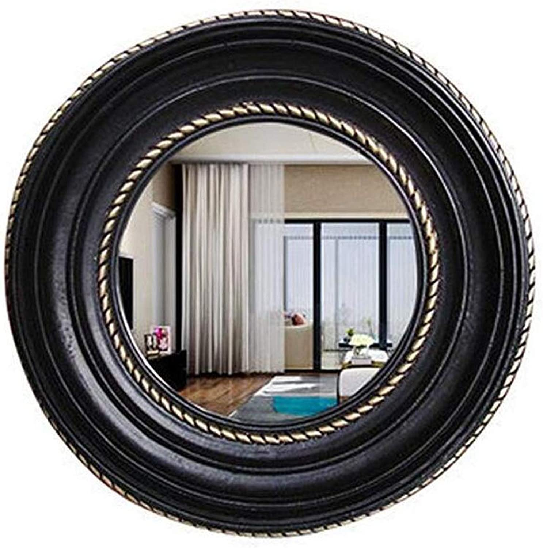 Bathroom Vanity Mirror Wall-Mounted,American Country Resin Round Makeup Mirror (color   Black)