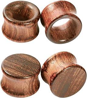 Crdifu 2 Pares Espansores de Túnnel de Madera Calibre Camilla de Oreja Conjunto Piercing Joyería(6-20mm)