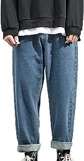 Generic11 Jeans da Uomo Classici in Denim Pantaloni Larghi a Gamba Dritta Stile Urbano Selvaggio può Indossare Pantaloni C...