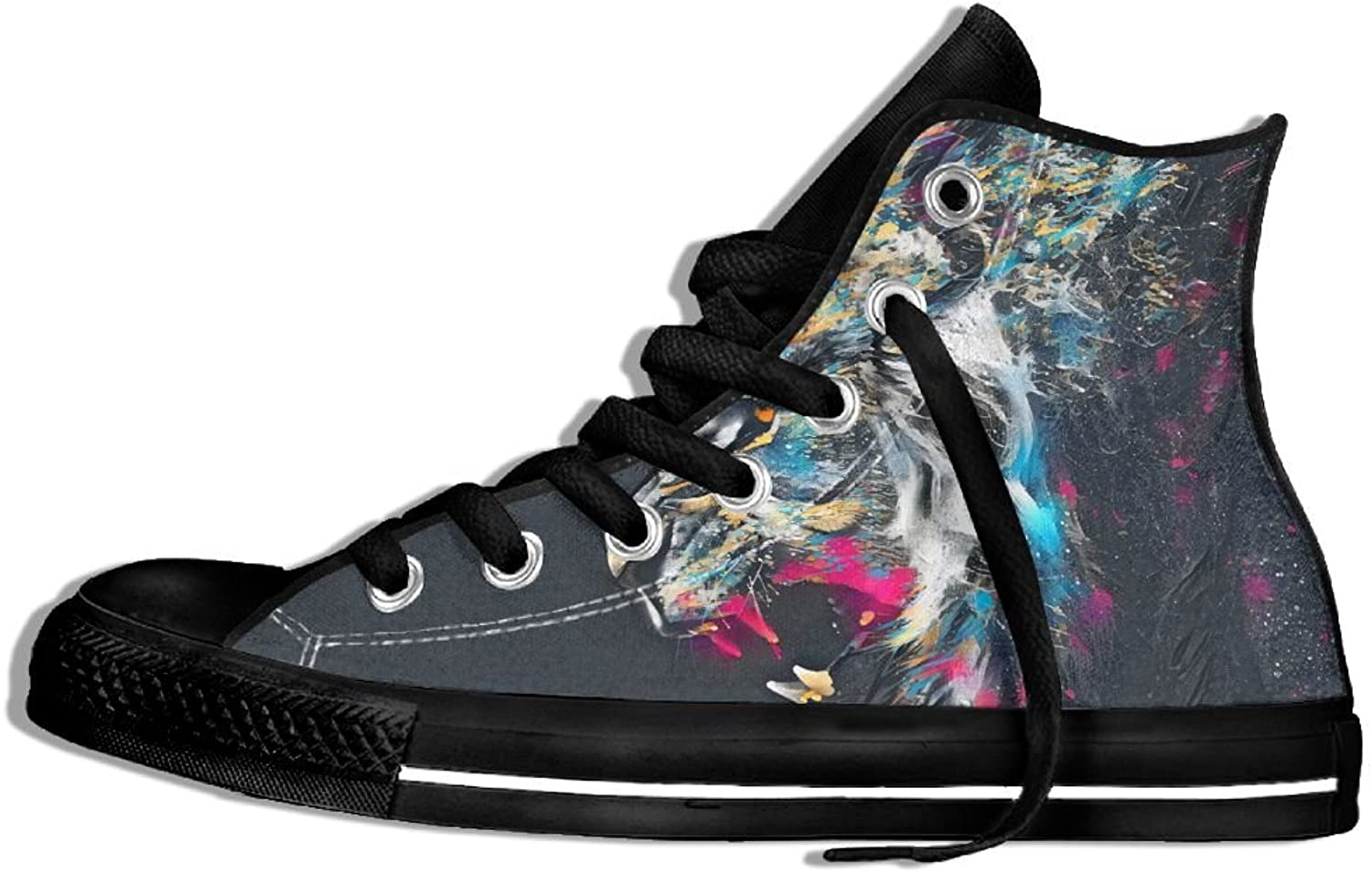 Unisex Hi-Top Canvas Sneakers colorful Lion Lace Up Anti Skid Sports Trainers shoes