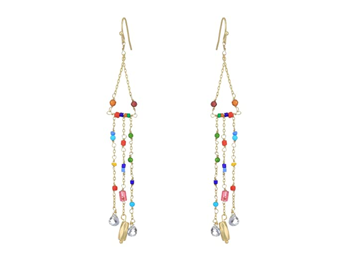 Lucky Brand  Charmed Bead and Chain Drop Earrings (Gold) Earring