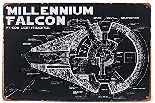 Millennium Falcon YT-1300 Light Freighter, Star Wars, Vintage Tin Sign, Wall plaques, Wall Decor, 20cm x 30cm By 66retro