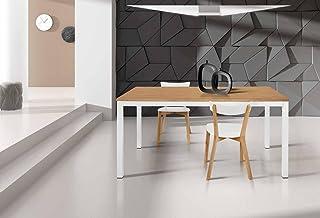 InHouse srls Table avec plateau en bois chêne et estructure en metal avec 1 rallonge cm. 50; dimensions cm. 110X70; avec r...