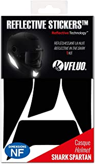 VFLUO Spartan™, Kit 4 reflektierende Aufkleber Shark Spartan™, kompatibel mit Allen Motorradhelmen, 3M Technology™, Schwarz