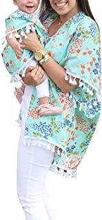 SJIAO Mommy and Me Shirts, Fall Cardigan Blouse Top Women Baby Girl Matching Outfit Flower Shawl Mom&Me Family Clothes