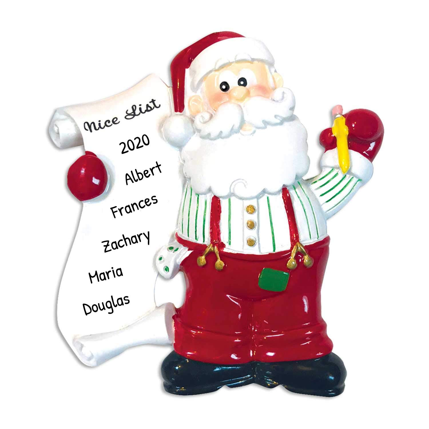 Image of Fun Nice List Personalized Santa Christmas Ornament