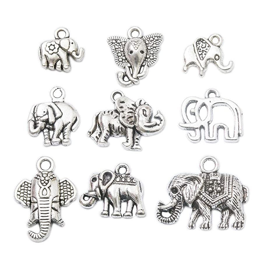 81pcs Mixed Style Vintage Antique Silver Alloy Animal Elephant &Elephant Head Charms Pendant Jewelry Findings for Jewelry Making Necklace Bracelet DIY (81pcs)