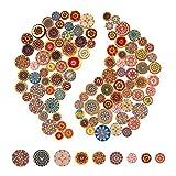 AIEX 100 piezas Mixto Botn Aleatorio Pintura de Flores Formas Redondas Madera Botones (15mm/20mm/25mm)