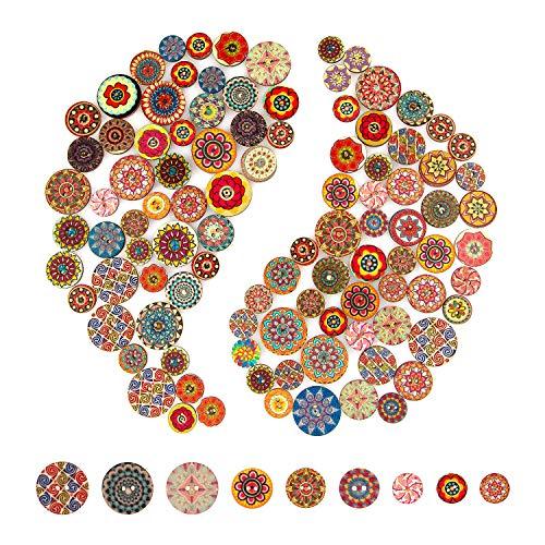 AIEX 100stk Bunte Holzknöpf Kinderknöpfe Blume Malerei Retro Knöpfe, Verschiedene Stil Pattern und Größe für Nähen Basteln DIY (15mm, 20mm, 25mm)
