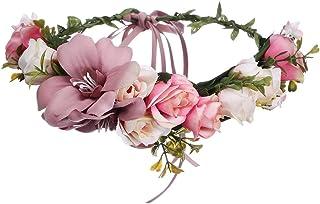 AWAYTR Blumen Stirnband Hochzeit Haarkranz Krone - Frauen Mädchen Blumenkranz Haare für Hochzeit PartyBohnen Paste