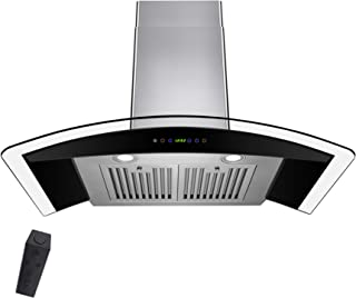 """Firebird Wall Mount Range Hood –30"""" Stainless-Steel Hood Fan for Kitchen – 3-Speed Professional Quiet Motor – Premium Touch Control Panel – Minimalist Design – Baffle Filter & LED Lamp –Tempered Glass"""