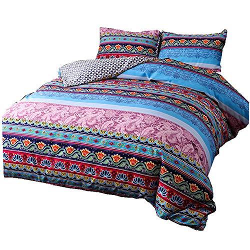wide smile Moroccan Bohemian Duvet Cover Set Double Size Ethnic Exotic Style Mandala boho Bedding Set (Blue, double)
