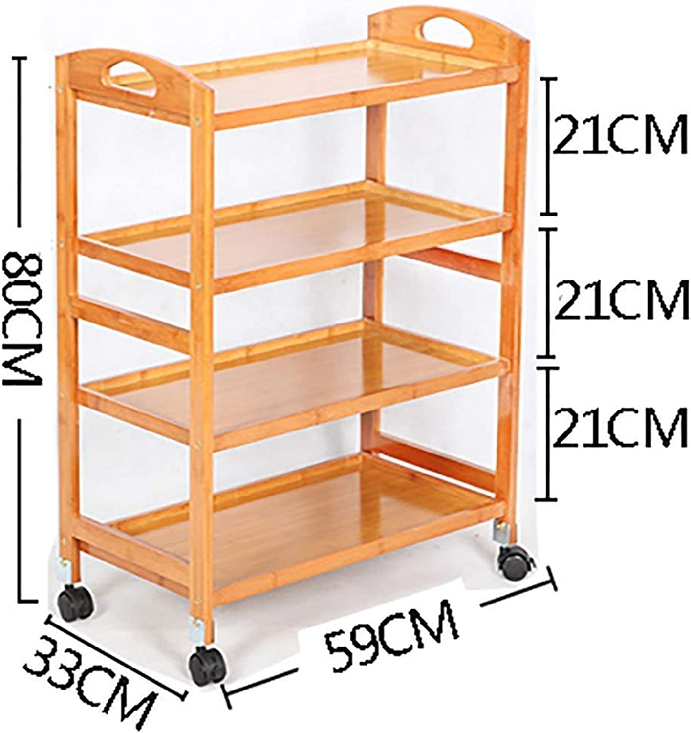 XQY Hospital Trolley, Medical Supplies Rack-Medical Cart Tool 4 Tier Beauty Salon Cart for Spa Hairdresser Tattoo, Wooden Kitchen Dining Trolley with Universal Brake Wheel, Hotel Catering Cart,Wood C