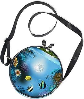 Ahomy Runde Tasche, klein, für Damen, bunte Koralle, Quallen, Seetang, modische Umhängetasche, Schultertasche