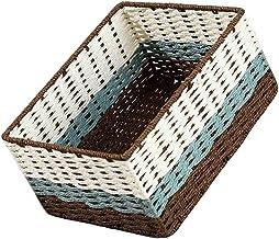 YAYADU Storage Basket Paper Rope Baskets Rectangle Finishing Box Store Toy Book Snacks Clothes For Livingroom Bedroom Stud...