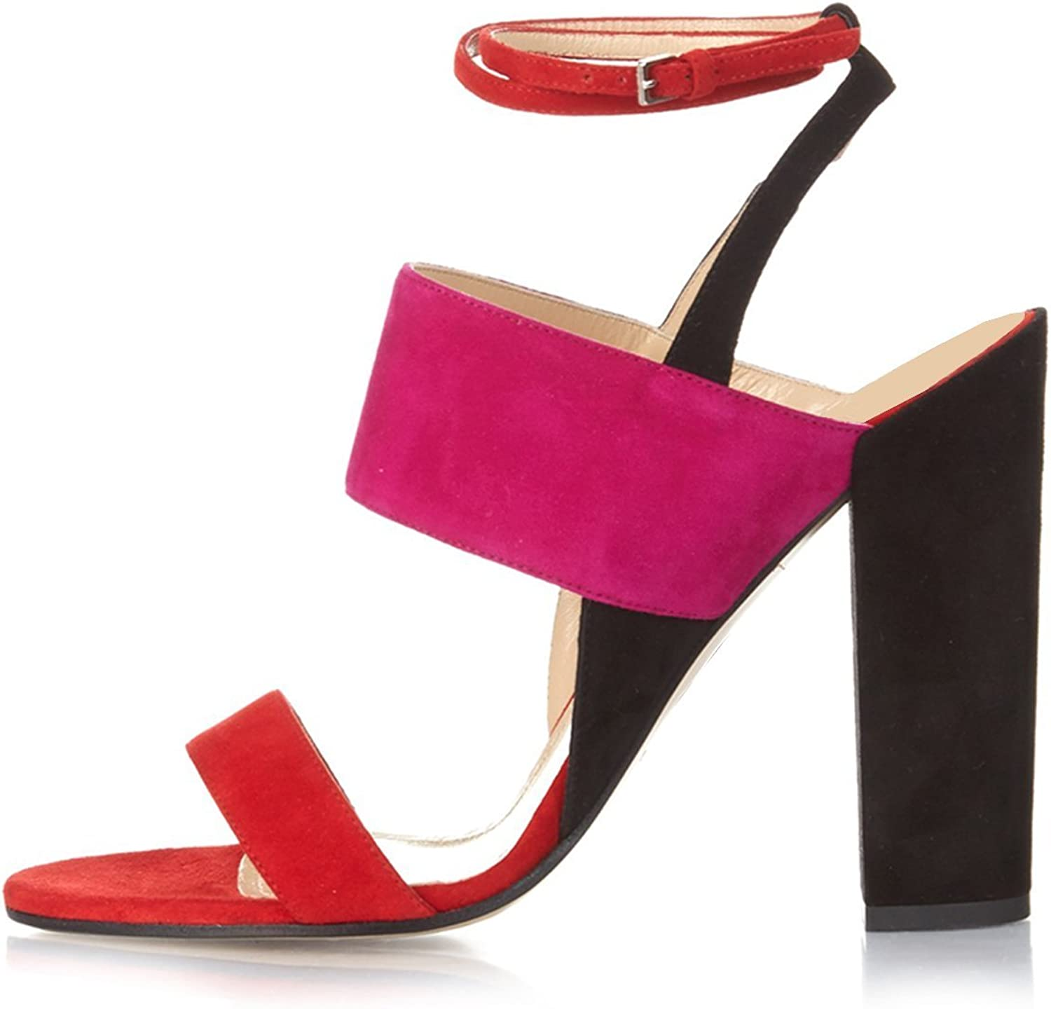 YDN Women Fashion Chunky High Heel Sandals Ankle Straps Slingback Pumps Open Toe shoes