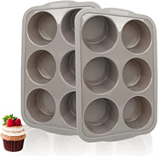 3.6 inch Jumbo Muffin Pan 6 Cups, Silicone Muffin Pan Set of 2 Gray, Muffin Pans For Baking Nonstick, Muffin Tin BPA Free,...