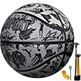 Senston Street Basketball Größe 7 mit Pumpe, Erwachsene Kinder Basketbälle Gummi Ball Indoor Outdoor Benutzen