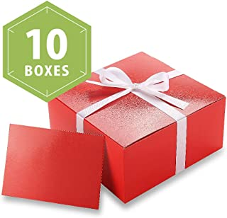 PACKHOME 10 PCS Red Gift Boxes 8x8x4 Inches, Bridesmaid Boxes, Paper Gift Boxes with Lids for Gifts, Crafting, Cupcake Boxes, with Greeting Cards and Satin Ribbons (Glossy with Embossing)