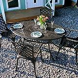 Lazy Susan - EMILY 150 x 95 cm Ovaler Gartentisch mit 4 Stühlen - Gartenmöbel Set aus Metall, Antik Bronze (APRIL Stühle)