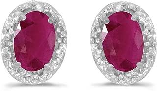Ruby and Diamond Stud Earrings set in 14K Gold