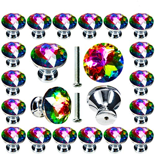 Cabinet Knobs 30 Pack, POZEAN Colorful Crystal Knobs 1.18inch (30mm) for Drawer, Dresser, Cabinet Come with 2 Different Size Screws, Perfect for Decoration for Your Home/Office/Dorm/Bathroom/Living