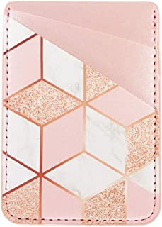 uCOLOR Phone Card Holder PU Leather Wallet Pocket Credit Card ID Case Pouch 3M Adhesive Sticker on iPhone Samsung Galaxy Android Smartphones (Rose Gold Glitter White Marble)