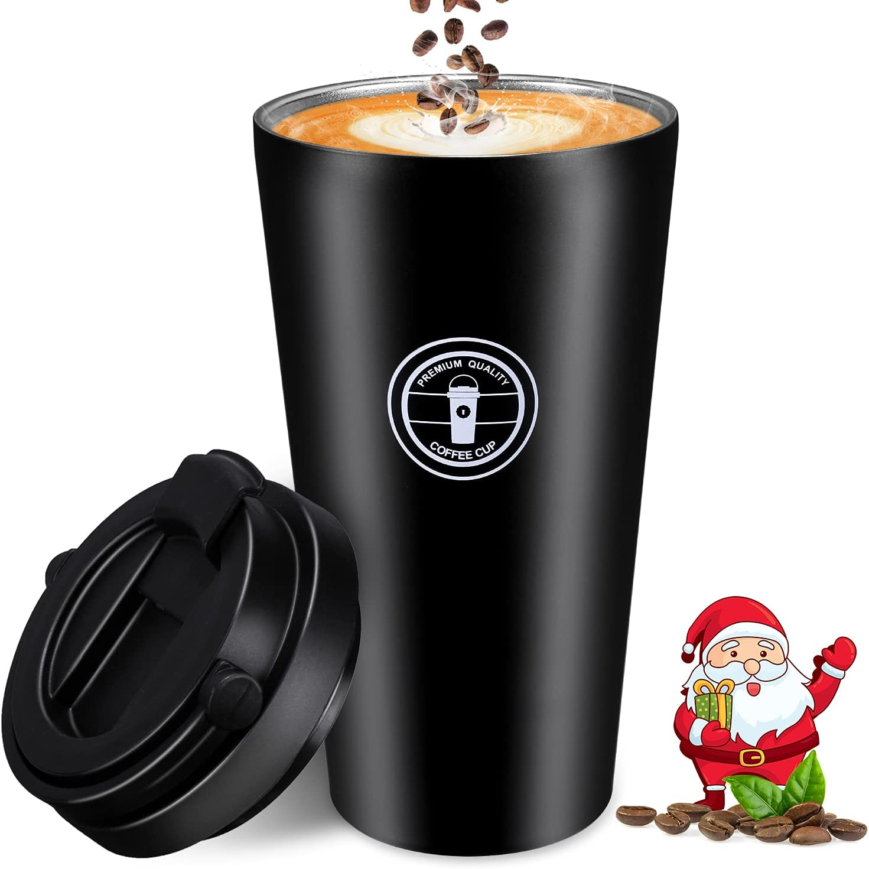 Taza Termo Cafe, Nisear 500ML Vaso Cafe para Llevar a Prueba de Fugas con Tapa, Taza de Viaje Acero Inoxidable con Cuchara y Cepillo para Hombre y Mujer, Negro