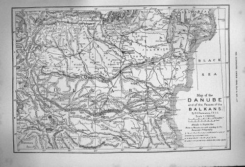 1877 Mappa Danubio Balcani Bulgaria Bucarest Rutstchuk