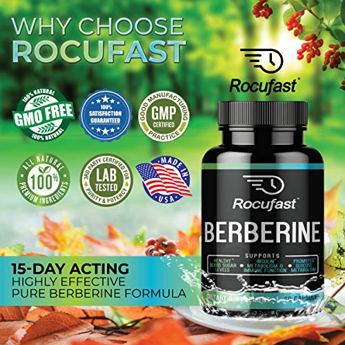 Rocufast Berberine 1200mg HCL Supplement for Gastrointestinal Function Glucose Support Blood Sugar Support Insulin Level Support Cardiovascular Support and Immune Aid Function 60 Count