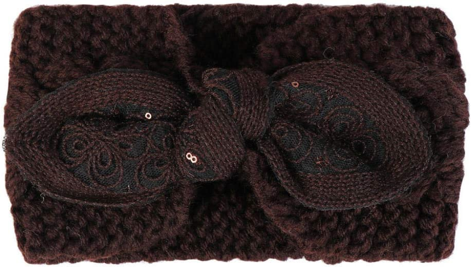 ZFCMIAO Women Headband Winter Warmer Ear Knitted Elastic Handmade Bow Twisted Head Wrap Wide Hairband Girl Headwrap Hair Accessories-Navy_as Shown