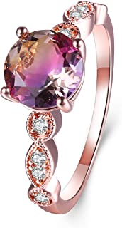 Round CZ Simulated Ametrine Crystal Created Green Purple Quarz Solitaire Rings for Women, White Gold Rose Gold Plated Size 5-9