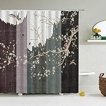 JMHX Waterproof Shower Curtain with 12 Hook Traditional Landscape Flower Bird Bath Curtain Home Decor Bathroom Curtains