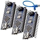 AZDelivery 3 pcs Nano V3.0 con ATmega328 Chip CH340 y 5V 16MHz versión soldada, Micro Controlador Board, versión mejorada con Cable USB, compatible con Nano V3 con E-Book incluido!