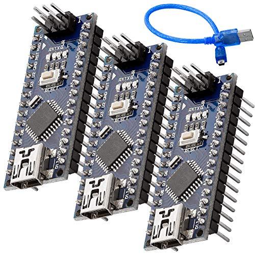 AZDelivery 3 x Nano mit Atmega328 CH340 fertig verlötete, verbesserte Version mit USB Kabel, 100% Nano V3 kompatibel inklusive E-Book!