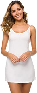 WiWi Women's Bamboo Full Slip Nightgowns Comfy Chemise Lightweight Sleepwear Camisoles Lounge Dress S-4X
