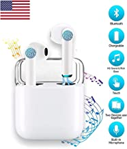 Priish®【2020 Upgraded Version】 v.6.13.HQS Sound Wireless Bluetooth Earbud Portable Hands-Free Sports Running Sweatproof Active Noise Cancellation Earphone/Headphone and Charging Case (Black/White)