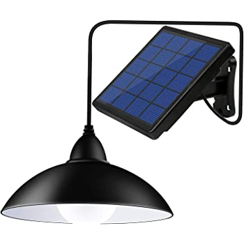 Bemexred Upgraded Solar Pendant Lights with Remote Control,Solar Powered Shed Lights Outdoor/Indoor,Auto On/Off Hanging Shed Lamp Dusk to Dawn for Barn Gazebo Storage Room Balcony Chicken Coop