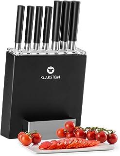 Klarstein Kitano 8 Piece Professional Chef Kitchen Knife Set with Block, Stainless Steel Blades - Piano Black