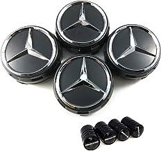 LIBRA Tapacubos de 75 mm, con Logotipo de Mercedes AMG, Clase A, B, C, E, CLA CLK, M, ML, S, 4Matic, Color Negro, 4 Unidades