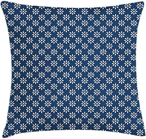 Jiger Dutch Throw Pillow Cushion Cover, Hand Drawn Style White Flowers on a Blue Background Classic Delft-patroon, Decorative Square Accent Pillow Case, 18 x 18 inch, Navy Blue and White