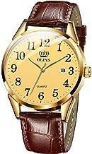 Men Women Wrist Watch Brown Leather-OLEVS Casual Classic Number Easy Reader Analog Quartz Dress Waterproof 3ATM Wristwatch