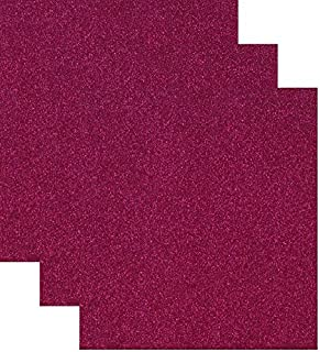 Siser Glitter Heat Transfer Vinyl HTV for T-Shirts 10 by 12 Inches (1 Foot) 3 Precut Sheets (Cherry Red)