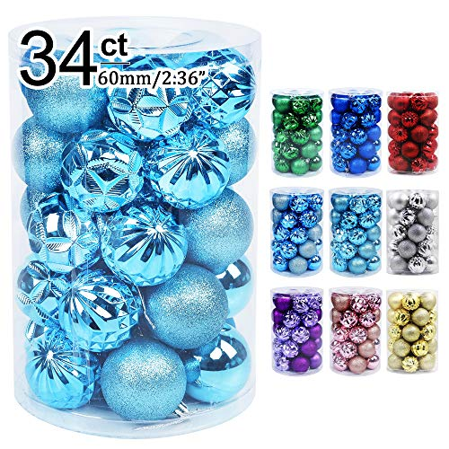 Lulu Home Christmas Ball Ornaments, 34 Ct Xmas Tree Decorations, Holiday Hanging Balls (Light Blue, 1.57')