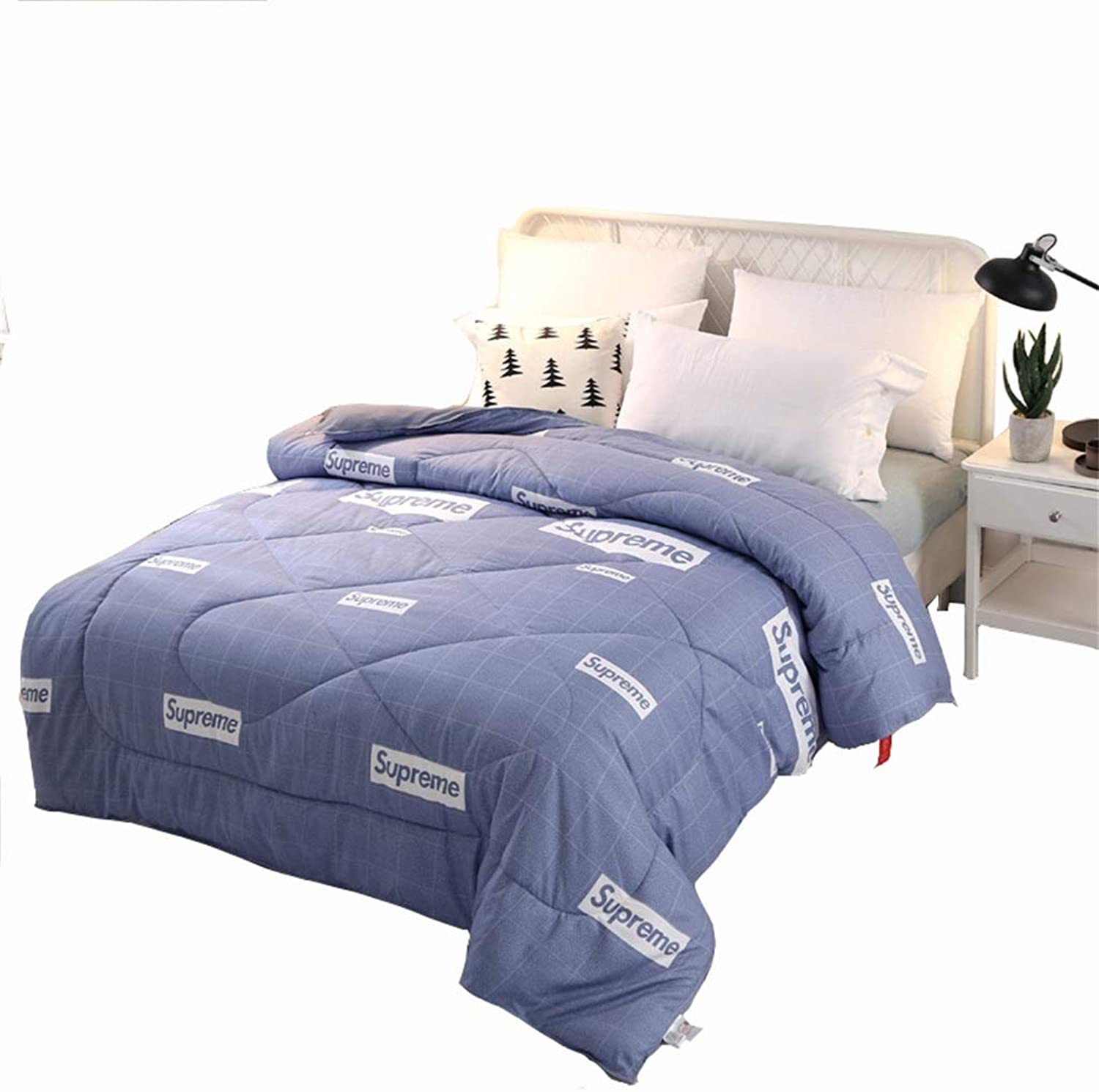 Warm Quilt Lattice Duvet Winter Thicked Warm Single Double Bed bluee Bedding - Family Student Dormitory Comforter - Polyester Fabric Fashion Printing Fluffy Quilt Antiallergic Quilt