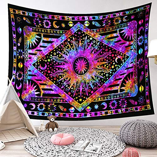 LIGICKY Indisch Psychedelic Wandteppich Mandala Indischer Bohemian Wandbehang Boho Baumwolle Hippie Wandtuch/Meditation Yoga Mats (Sonne Mond Sterne, Lila,150 x 200cm)